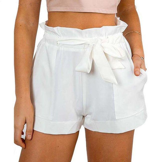 Dámské letní šortky s vysokým pasem - Bílá, velikost 2 1