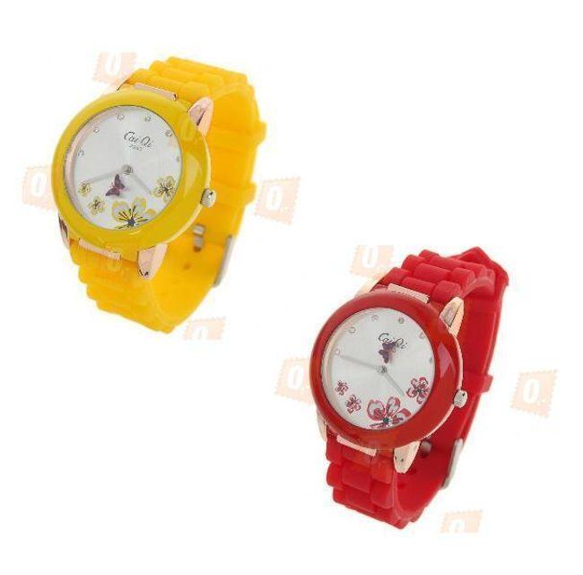 Dámské hodinky s květovaným ciferníkem a silikonovým páskem ve dvou barvách 1
