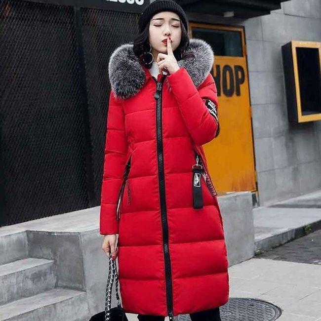 Dlouhá zimní bunda Agnes - Červená-M 1