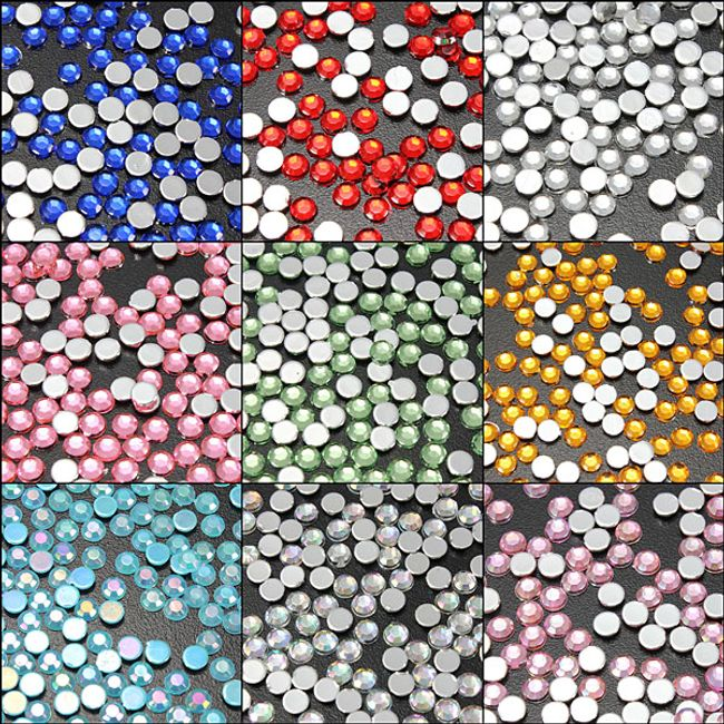 Naklejane kamyczki na paznokcie  - 200 sztuk, oferujemy 9 kolorów 1