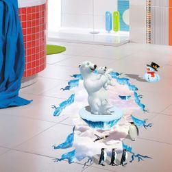 3D samolepka na podlahu - Lední medvědi a tučňáci
