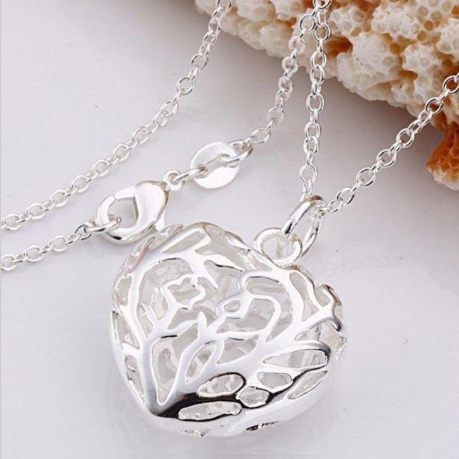 Naszyjnik z sercem - srebrny 1