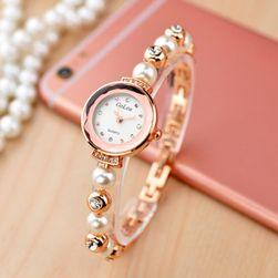 Моден часовник за жени с каишка от перли - 2 цвята
