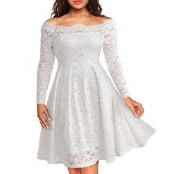 Svečana čipkasta obleka Bela1 velikost št. 3