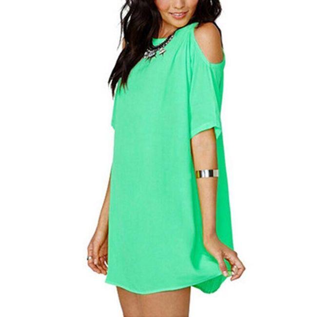 Dámské šaty s odhalenými rameny - zelená, velikost 2 1