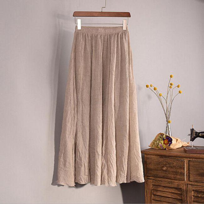 Vzdušná lněná sukně ve všech barvách - Béžová 1