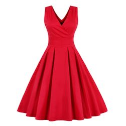 Elegantní jednobarevné retro šaty - 2 barvy