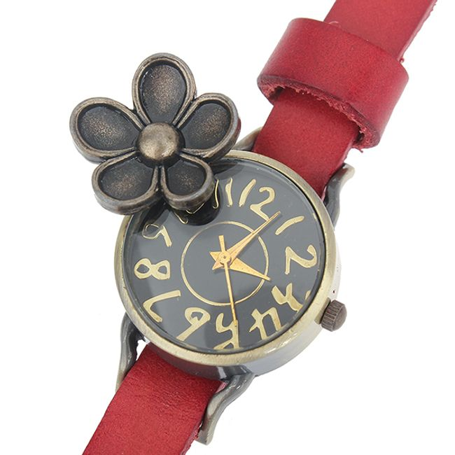 Retro hodinky s květinou, kožený pásek - 5 barev 1