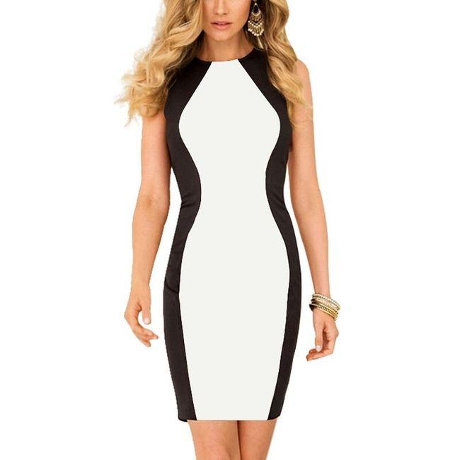 Zeštíhlující černobílé šaty velikosti 4 1