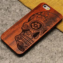 Mobiltelefon borító fa hátlaptal iPhone 5, 5S, 6, 6S, 6+, 6S +, 7, 7 és újabb modellekhez