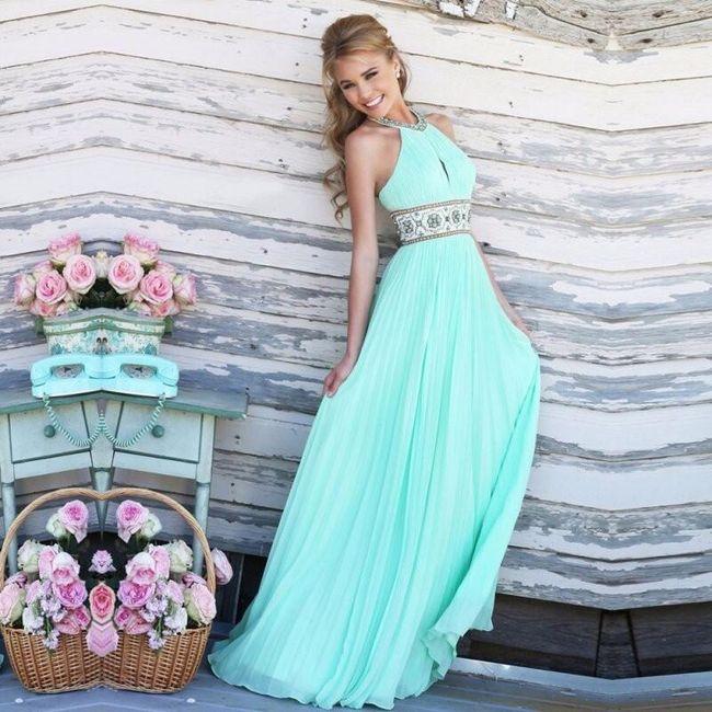 Plesové šaty v tyrkysové barvě - velikost č. 2 1