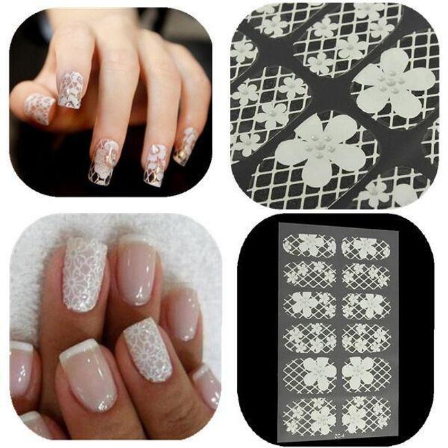 Nalepncie za nokte u obliku bele čipke i cvetova 1