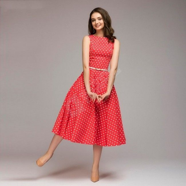 Vintage dámské šaty s puntíky - Červená-S 1
