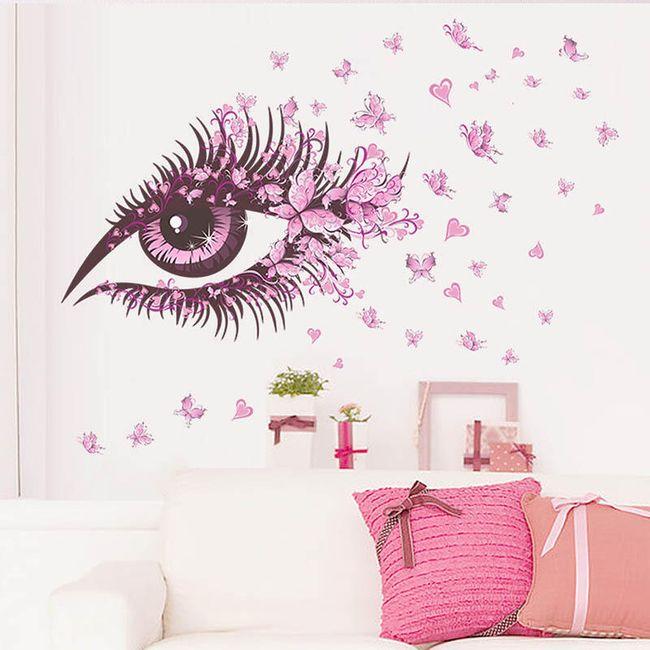 Настенная наклейка-Розовый глаз с бабочками 1