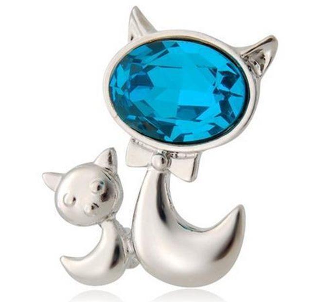 Brož kočka s modrým kamenem 1