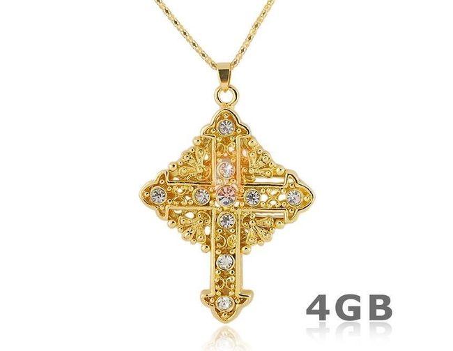 4GB Flashdisk - přívěsek křížek - zlatá barva 1