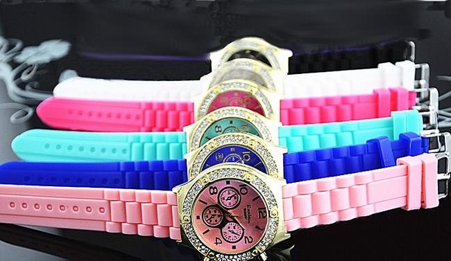 Silikonowy zegarek GENEVA z błyszczącymi kamyczkami - oferujemy 7 kolorów 1