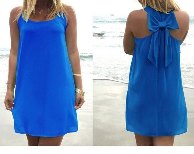 Letní šaty s mašlí na zádech - Modrá - velikost M 1