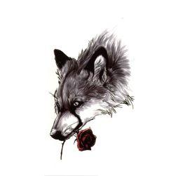 Privremena tetovaža - vuk sa ružom