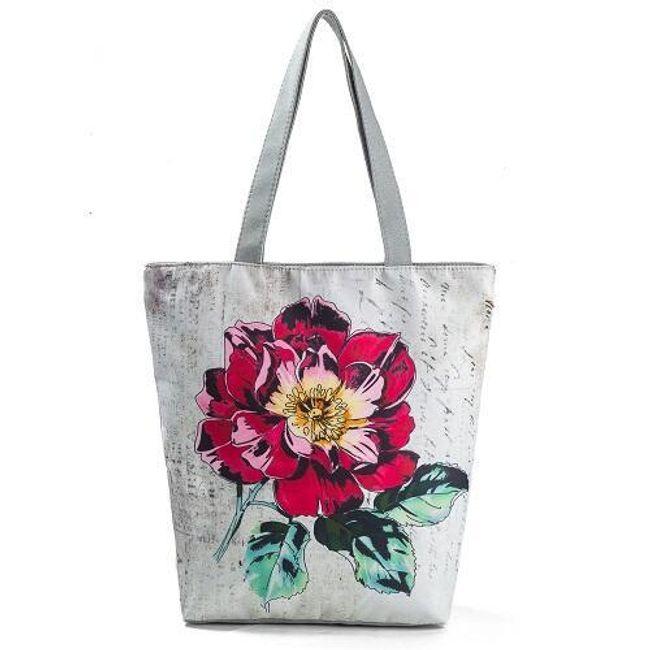 Plátěná taška s květem - 2 barvy 1