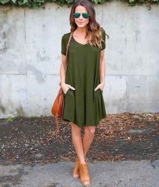 Dámské ležérní šaty s krátkými rukávy - Zelená-velikost č. 2 1