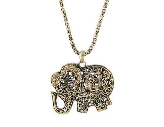 Naszyjnik z wisiorkiem w ksztakcie słonia - vintage styl 1