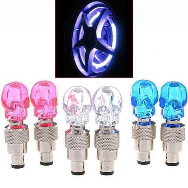 LED светящаяся насадка на клапан колеса, Череп 1