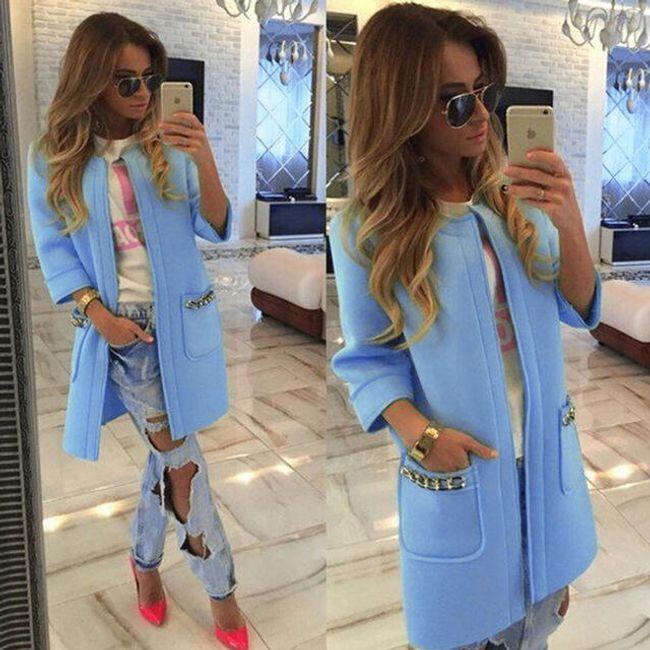 Luxusní dámský cardigan - Modrá - velikost č. 2 1