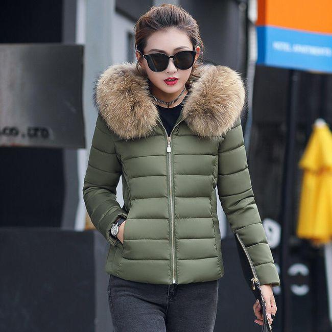 Ženska jakna sa veštačkim krznom na kapuljači - 7 boja 1