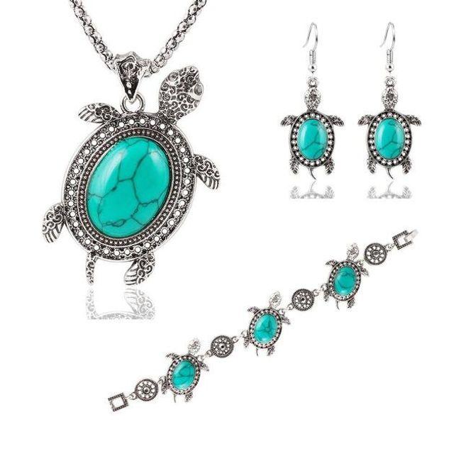 Náušnice, náramek a náhrdelník - Tyrkysová želvička 1