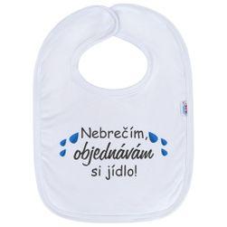 Dojčenský bavlnený podbradník neplačem objednávam si jedlo! RW_36373