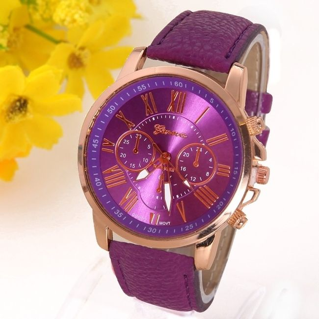 Náramkové hodinky v luxusním designu - Fialová 1
