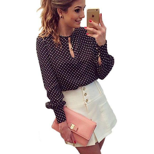 Ženska bluza sa tačkicama - crna 1
