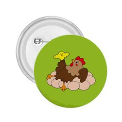 Przypinka - Kura i kurczak na jajkach