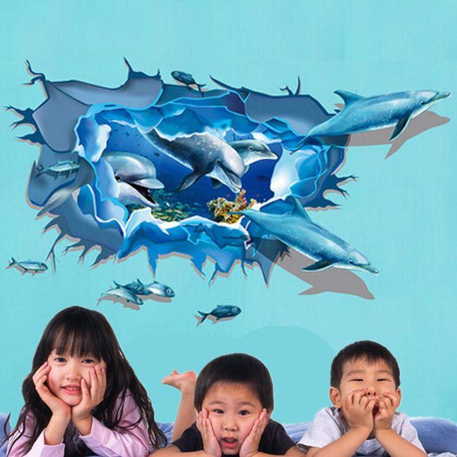 3D stenska nalepka - morsko dno z delfini 1