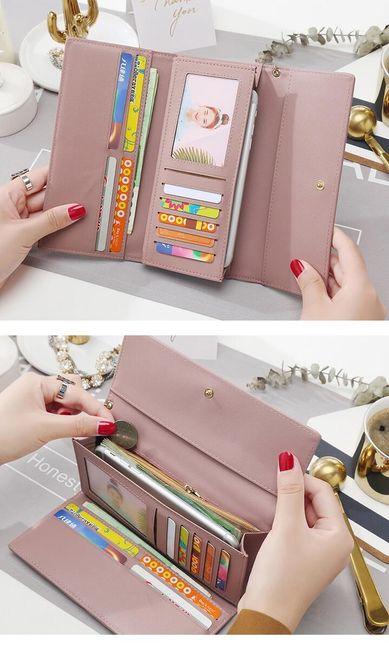 Női műbőrből készült hosszú pénztárca - 5 színben