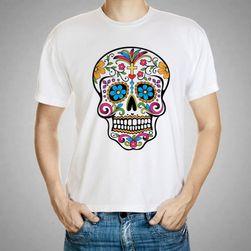 Pánské tričko s barevnou lebkou
