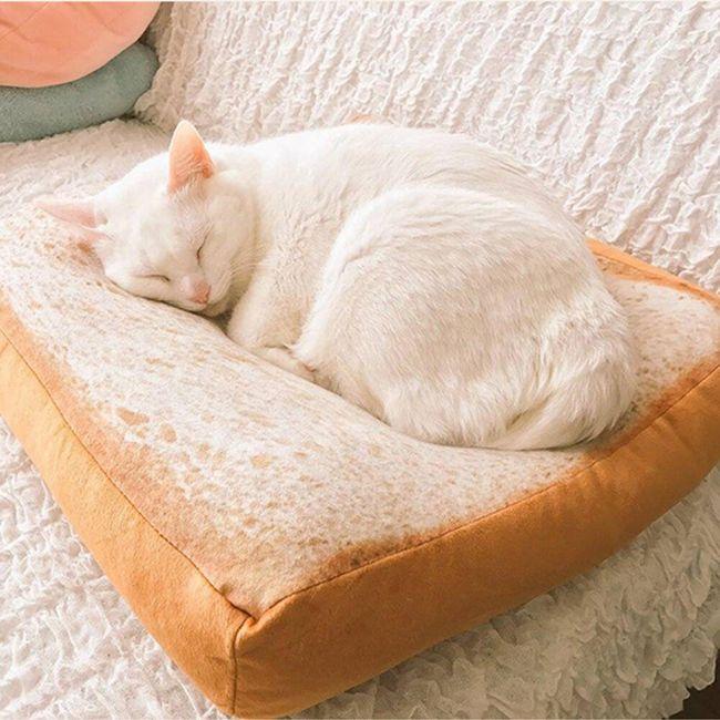 Pelíšek pro kočky v podobě toustového chleba 1