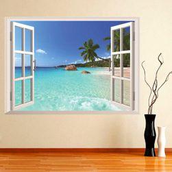 3D стикер за стена - прозорец към плажа