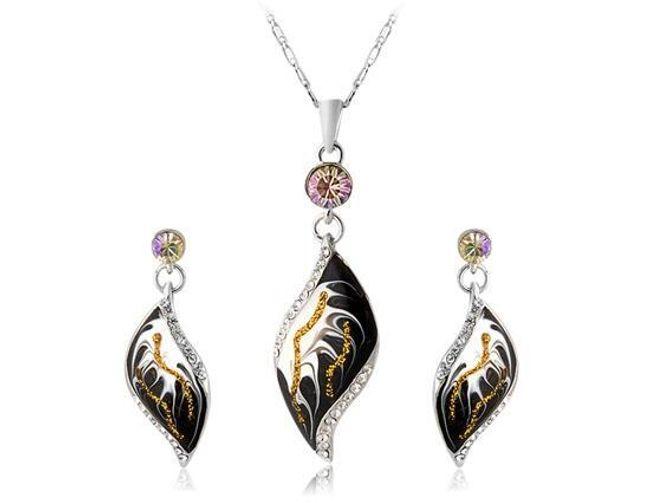 Designová sada náušnic a náhrdelníku s kamínky 1
