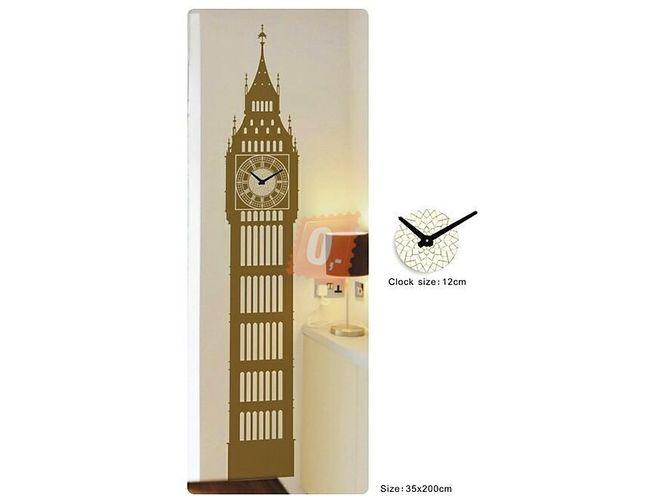 Samolepka na zeď, 35 x 200cm -  věž s hodinami 1