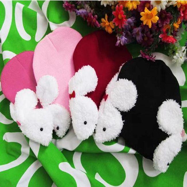 Dětská čepička s králíčky - 4 barvy 1