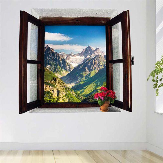 3D nalepnica - prozor sa pogledom na planine 1