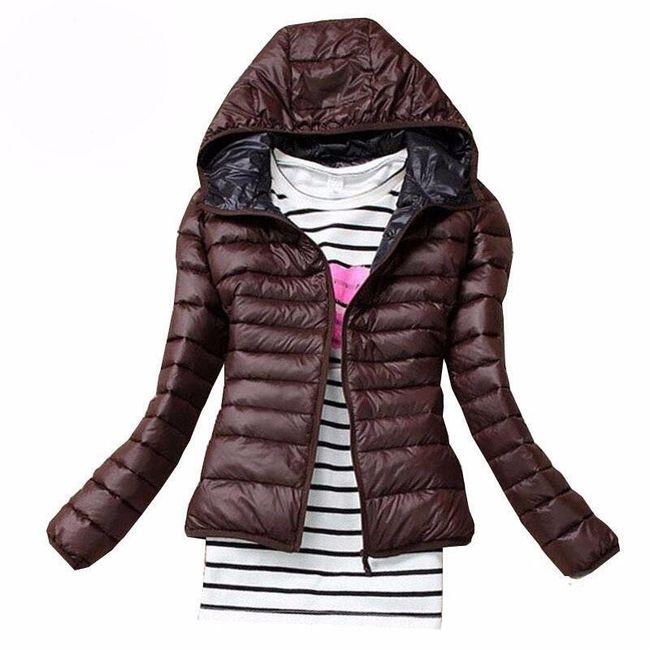 Dámská podzimní prošívaná bunda s kapucí - hnědá, velikost L 1