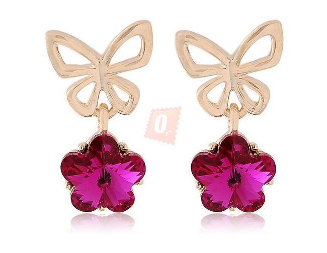 Stylové náušnice s motýlkem - růžové 1