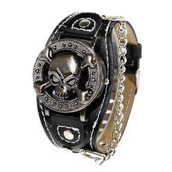 Punkowy zegar z czaszką i łańcuchami