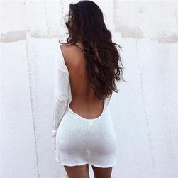 Bílé mini šaty s odhalenými zády