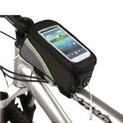 Vázra tehető kerékpár, biciklis táska telefontartóval - szürke