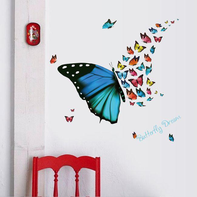 Stenska nalepka - jata pisanih metuljev 1