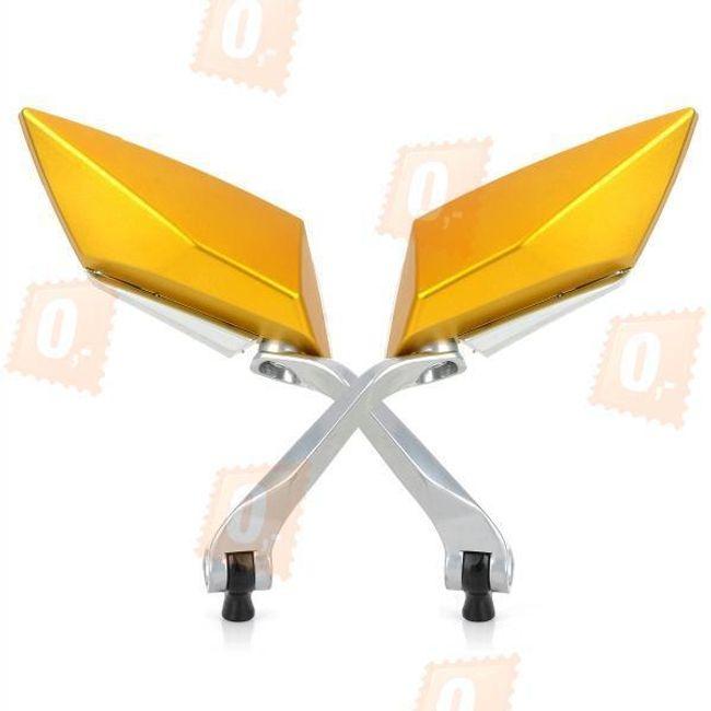 Hliníková zpětná zrcátka na motorku, univerzální - žlutá (2ks) 1